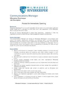 2018_Communications Manager Job Description - Milwaukee Riverkeeper